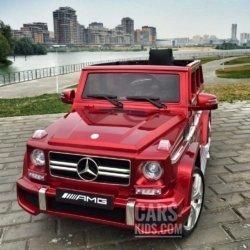 Электромобиль Mercedes-Benz G63 AMG красный глянец (колеса резина, кресло кожа, пульт, музыка)